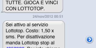 Lottotop servizio non richiesto